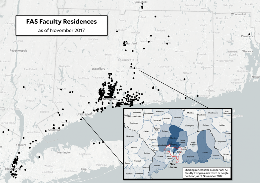 Map of FAS Faculty Residences as of November 2017