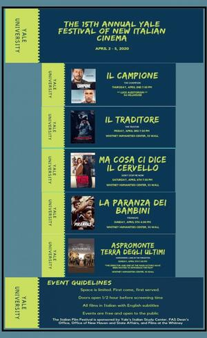 The Italian Studies department hosts an the annual Yale Festival of New Italian Cinema.