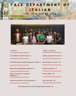 The front page of the Department of Italian's 2019-2020 newsletter