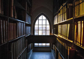 Picture taken at the Stacks on Sterling Library. It shows two long parallel book shelves, and at the end of their end, a window.
