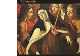 Book cover, displaying a painting where Saint Teresa is being stabbed with a spear by another person.