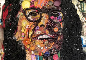 A portrait of Professor Stephanie Newell — made out of repurposed trash — by Yusuf Durodola