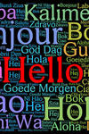 A graphic showing the word hello at the center and many of its iterations in different languages around it.