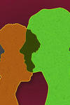 An illustration with different people's profiles overlapping with different colors.