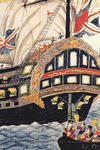 Painting that represents two ships at sea, one large and splendorous, the other small like a boat.
