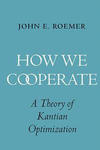 "Book cover with a light blue background. The tilte, in white, is prominently placed in the center, reading: ""How we cooperate"", and the two o's composing the word cooperate are intertwining."
