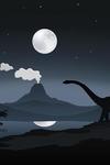 Dinosaur scene with falling asteroid