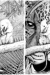 Two black and white images, side by side. In both cases, a small animal eats in front of a larger one. On the left picture, the larger animal seems to be a reptail, while that of the ricture is a large mammal.