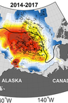 Map representing part of Alaska and Canada, where heat content is shown as very high.