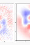 Two graphs side by side, the left one being a less-focused version of the one on the right. They show a blue structure, made up of a central square and two almost triangles growing out of different sides of the square. All is surrounded by a pink-ish tone.