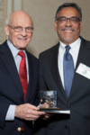 Deputy Provost Richard Bribiescas, at right, presented Dieter Söll with the 2015 Postdoctoral Mentoring Prize. (Photo courtesy of Harold Shapiro)