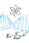 Science-related objects around a DNA double helix